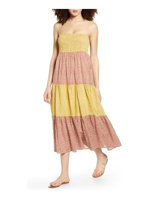 ALL IN FAVOR colorblock ditsy floral smocked sundress
