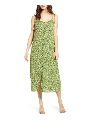 ALL IN FAVOR floral button front midi dress
