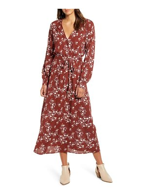 ALL IN FAVOR floral print long sleeve midi dress