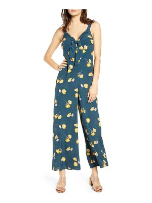 ALL IN FAVOR floral print tie front jumpsuit