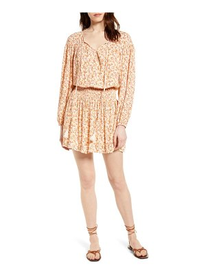 ALL IN FAVOR floral smocked waist long sleeve minidress