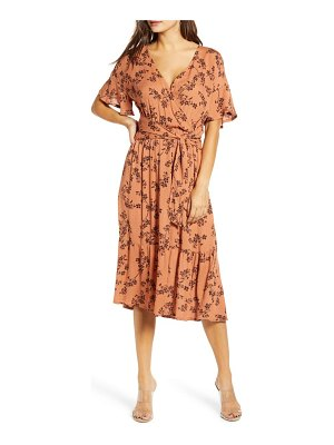 ALL IN FAVOR floral wrap front midi dress