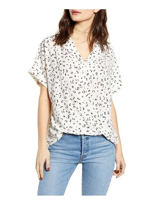 ALL IN FAVOR gathered front button top