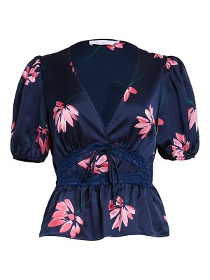 ALL IN FAVOR lace trim floral satin top