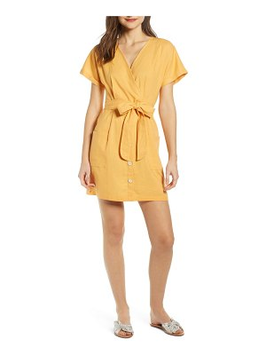 ALL IN FAVOR linen blend surplice dress