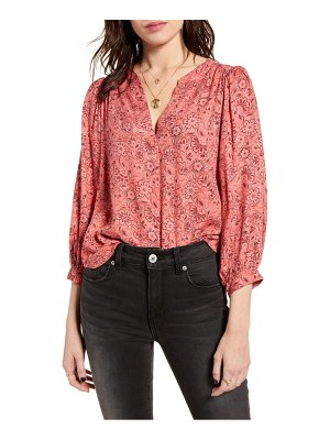 ALL IN FAVOR printed balloon sleeve blouse