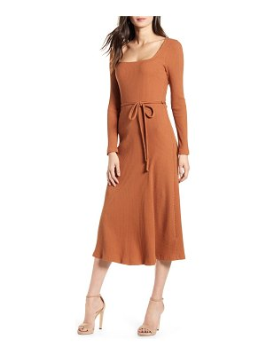 ALL IN FAVOR ribbed long sleeve midi dress