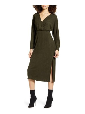 ALL IN FAVOR ribbed long sleeve midi sweater dress