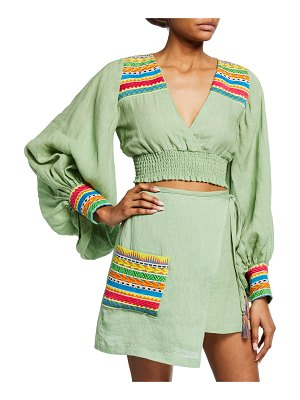 All Things Mochi Cora Cropped Blouson-Sleeve Top w/ Embroidery
