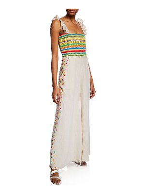 All Things Mochi Elena Embroidered Linen Wide-Leg Jumpsuit