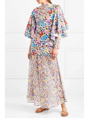 All Things Mochi flora printed cotton-voile and chiffon maxi dress