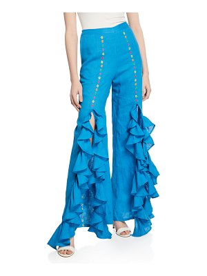 All Things Mochi Gaho Split Embroidered Rumba Ruffle Pants