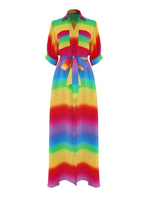 All Things Mochi iska rainbow stripe silk maxi shirtdress
