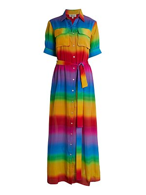 All Things Mochi iska rainbow stripe silk shirtdress