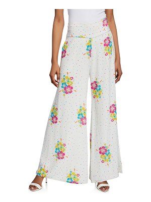 All Things Mochi Jimmie Dotted Floral-Print Wide-Leg Pants