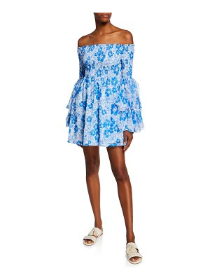 All Things Mochi Kanoa Floral-Print Off-the-Shoulder Ruffle-Sleeve Smocked Dress