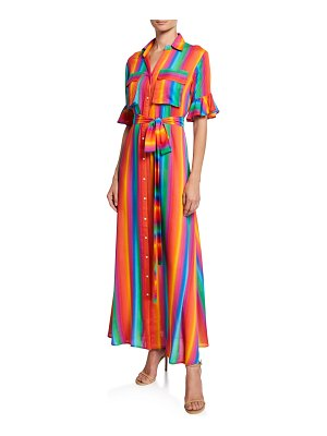 All Things Mochi Leilani Striped Button-Front Short-Sleeve Long Shirtdress