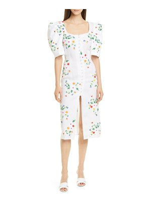 All Things Mochi marisol embroidered linen blend midi dress