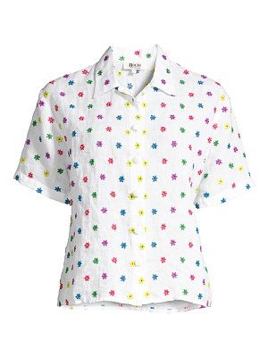 All Things Mochi nora embroidered flower linen shirt