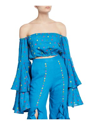 All Things Mochi Warli Embroidered Bell-Sleeve Crop Top