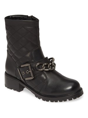Allegra James cate chain quilted moto boot