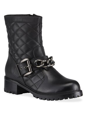 Allegra James Cate Quilted Leather Chain Biker Boots