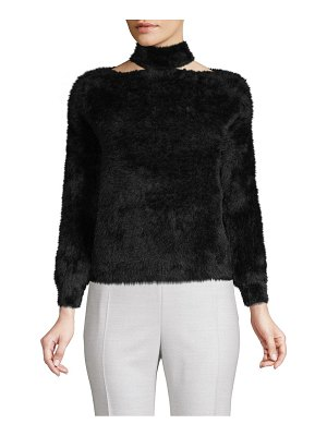 Allison New York Choker Faux Fur Sweater