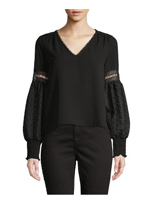 Allison New York Embroidered Puff-Sleeve Top