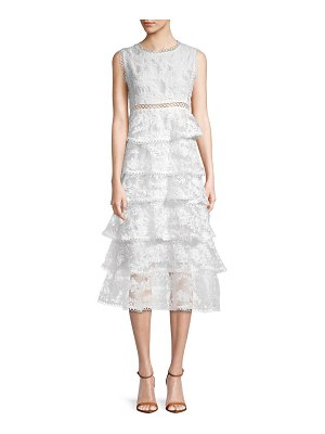 Allison New York Embroidered Tiered Midi Dress