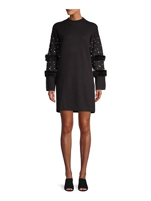 Allison New York Faux Pearl-Embellished Faux Fur Sweater Dress