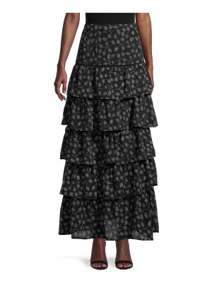 Allison New York Feather-Print Tiered Maxi Skirt