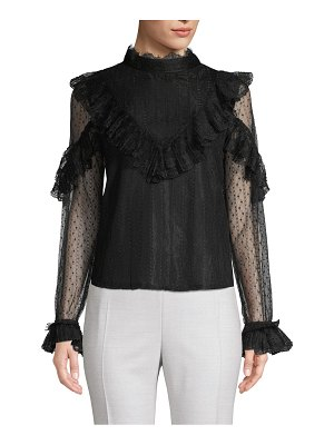 Allison New York High-Neck Ruffed Lace Blouse