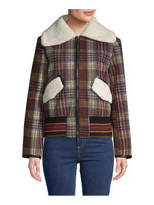 Allison New York Plaid Faux Fur Trim Bomber Jacket
