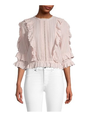 Allison New York Ruffle Cotton-Eyelet Blouse