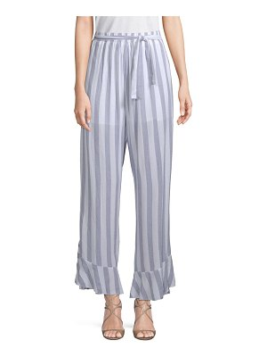 Allison New York Ruffled Striped Cotton Pants