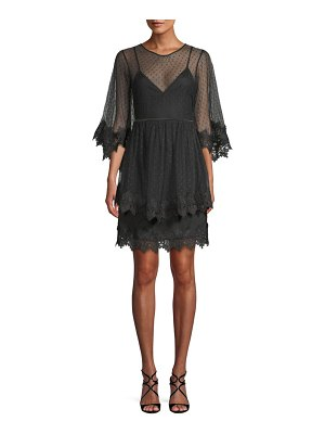 Allison New York Tiered Lace-Trimmed Dress