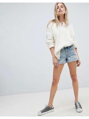 ALLSAINTS Denim Shorts with Embroidered Swallows