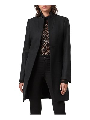 ALLSAINTS leni wool & cashmere blend coat with leather collar