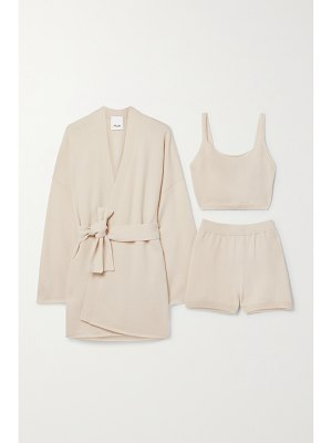 ALLUDE cashmere cardigan, tank and shorts set