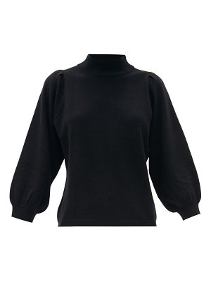 ALLUDE funnel-neck balloon-sleeve wool-blend sweater