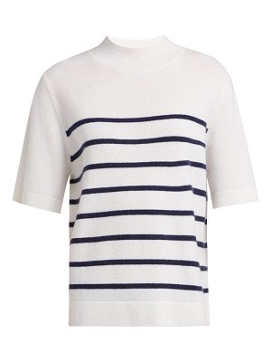 ALLUDE Intarsia Stripe Short Sleeved Cashmere Sweater