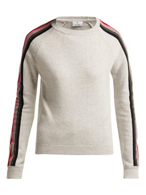 ALLUDE Intarsia Stripe Wool Blend Sweater