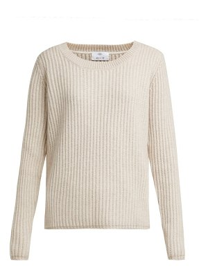 ALLUDE Oversized Ribbed Knit Cashmere Sweater