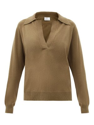 ALLUDE polo-collar cashmere sweater