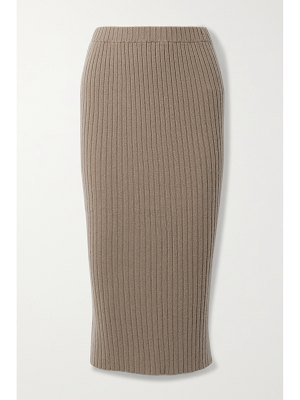 ALLUDE ribbed cashmere midi skirt