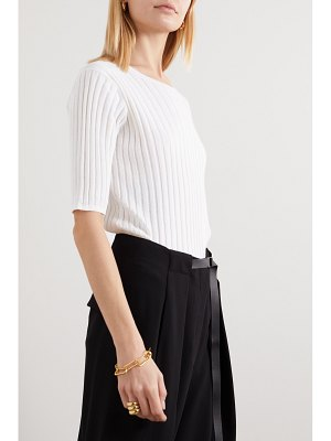 ALLUDE ribbed cotton and silk-blend top