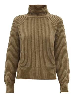 ALLUDE roll-neck ribbed cashmere sweater