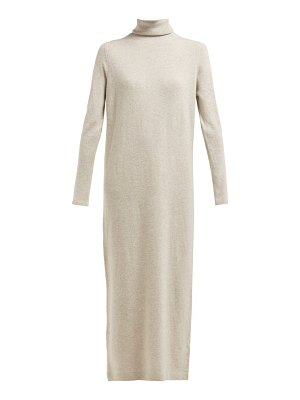 ALLUDE roll neck wool and cashmere blend maxi dress
