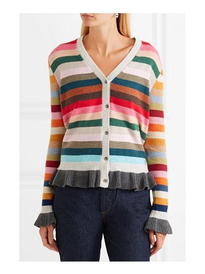 ALLUDE ruffled striped wool-blend cardigan