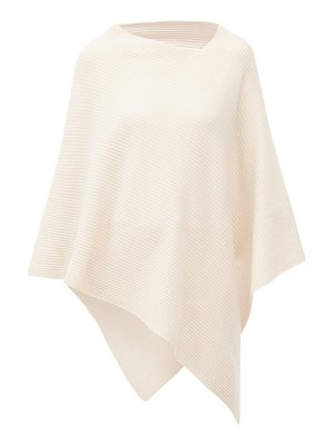 ALLUDE v-neck ribbed cashmere poncho